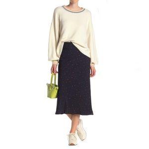 Elodie Women's Navy Dotted Pull on Midi Skirt